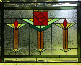 stained glass craftsman missions window panel arts n crafts style macintosh rose hanging mission style panel bungalow decor hanging transom