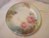 Reserved For Dolly Amezcua  On Hold   Antique Porcelain Pink Roses Green Leaves Gilt Gold Rim Brown Tan Muted backgrownd Cabinet Plate