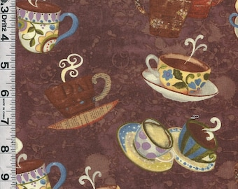 Fabric Clothworks Coffeehouse designed by Sue Zipkin  coffee cups toss on brown