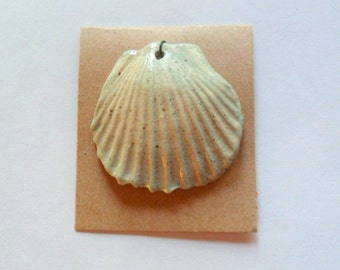 Large Shell Pendant Finding in Stoneware Kiln Fired Clay