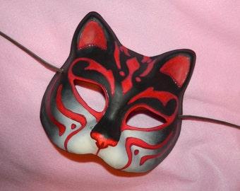 Kitsume Fox Kitty Cat Mask LARP Cosplay Adult Size