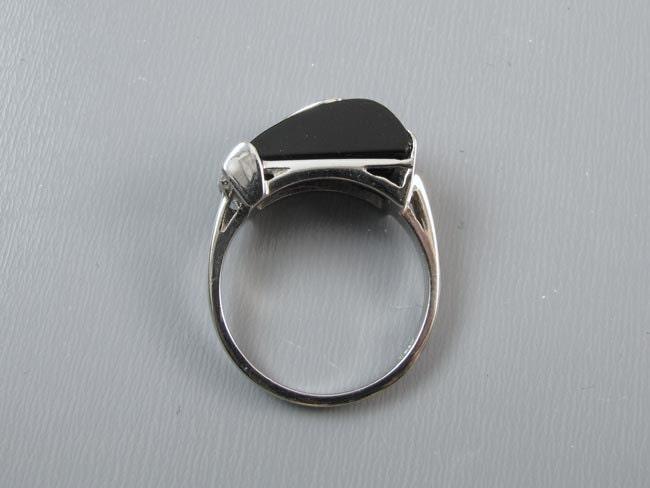 Vintage Art Deco 10k white gold asymmetrical black onyx diamond tear drop ring bow detail, size 6-1/4 signed Comet Ring Mfg Co. Buffalo NY