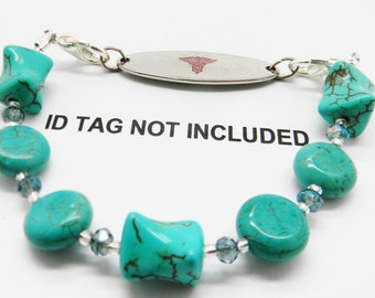 Interchangeable Beaded Medical ID Bracelet!  TURQUOISE ABSTRACT, Use with your Medical Plate Tag or Charm, Bracelet Strand