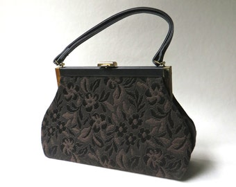 Mid Century vintage Floral Tapestry Handbag / Brown and Black Floral Tapestry Purse