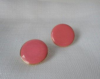 Vintage Signed ART Gold tone and Candy Pink Enameled Earrings. Mint