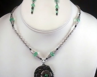 The Ladies Mechanical Moon Handcrafted Necklace and Earring Set