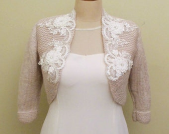Bridal Bolero, Wedding Shrug, Wedding Jacket, Wedding Bolero, Wedding Knit Sweater,  Champagne Wedding Bolero, Lace Champagne Bolero