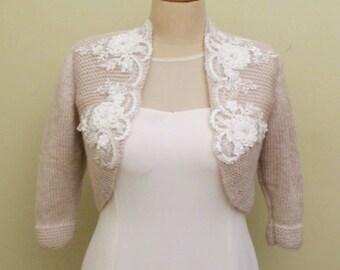 Bridal Bolero, Wedding Shrug, Wedding Jacket, Wedding Bolero, Wedding Knit Sweater,  Champagne Wedding Bolero, Lace Champagne Bolero