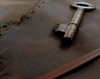 Landscapes - Large Dark Brown Leather Journal, Vintage Key, Aged Paper - OOAK