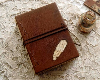 The Writer's Way, Leather & Lace Journal, Tea Stained Pages - OOAK