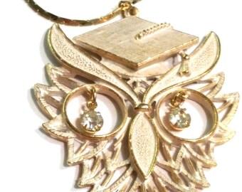 Vintage RAFAELIAN OWL Pendant Necklace Rhinestone Eyes