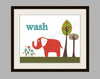 Childrens Art Print, Kids Room Decor, Elephant, Bath Room, 8x10 Art Print, Personalized,inspired Target Circo Elephant Shower