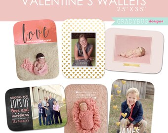 Valentine Wallets , Wallet Size Photo Templates, Gold Foil, Newborn, Children, Family Photographer, INSTANT DOWNLOAD, Valentine Card