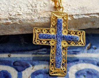 Portugal Antique Azulejo Tile Replica SILVER FILIGREE CROSS Necklace - Delft Blue Bordr 1837  Pasteis de Belem  Lisbon 24k Gold Bath