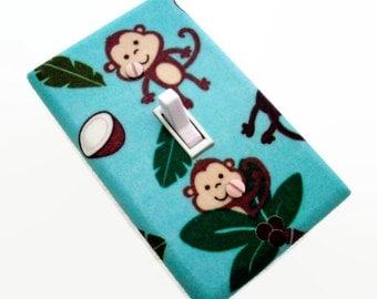 Monkey Light Switch Cover - Monkeys Nursery Decor - Monkey Switch Plate - Jungle Animals Switch Plate Cover - Blue Brown Jungle Nursery