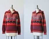 Vintage 1970s Bohemian Knit Pullover Sweater Top /  V Neckline / Red