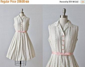 On SALE Vintage 1960s Sleeveless Cotton Dress / 60s Dress / Floral Print / Pleated Skirt