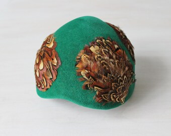 Green 1950s Hat / 50s Hat / Cloche / Kurt Original