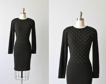 Bodycon Black Dress / Black Knit Dress / 1980s Sweater Dress /  Knit Sweater Dress