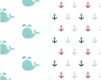 SPRING SALE  - 1 1/4 Yards Each - Blanket Cut - Double Gauze - Whales in Aqua and Anchors in Multi - Riley Blake Designs