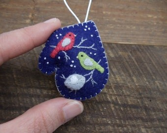 Miniature Felt Mitten Ornament