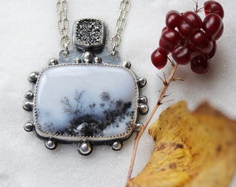 Dendritic Opal Necklace/ Sparkling Druzy/ Blizzard Necklace/ Winter Landscape/ Statement Necklace/ Layered Sterling/ Snow and Ice Necklace