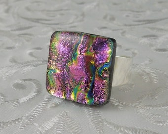 Glass Ring - Fused Glass Ring - Dichroic Fused Glass Ring - Metal Ring - Geekery Jewelry - Dichroic Jewelry - Large Jewelry X4419