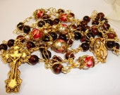 Catholic Rosary, Red Tiger Eye Double Wire Wrapped