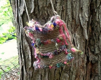handknit rustic hemp art yarn boho shoulder bag - flowerland