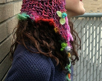 hand knit art yarn fantasy faerie hairnet hood hat - inspiration cap