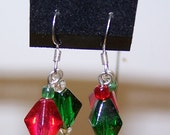 CLOSING SALE Green and Red Christmas Earrings