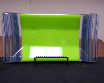 Lime Green Blue Fused Glass Tray
