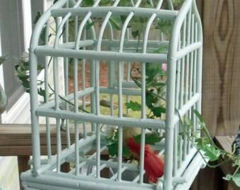 Shabby Chic Aqua Wooden Birdcage