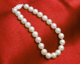 "Graduation Gift - AA White Freshwater Pearl Bracelets 7-8mm White Pearl Bracelet 7.5"" Bracelets for Bridal Bracelets Wedding Jewelry"