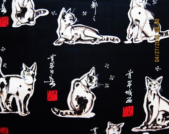 CAT FABRIC Haiku Cat by Philip de Leon 1998 - Alexander Henry Ultra Rare - 1 yard - #A21