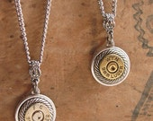 Bullet Jewelry - Petite 9mm Bullet Casing Round Rope Detail Pendant Necklace - Simple, Feminine, Classy and Quality Made