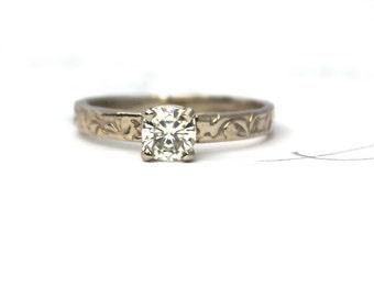 unique moissanite engagement ring . cushion moissanite alternative engagement ring . recycled 18k white gold vine engagement ring