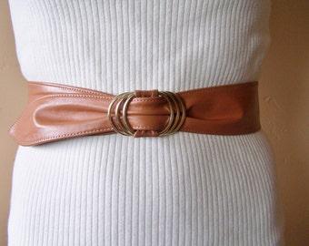 Cinch Belt, Brown Leather belt, Leather cinch Belt, 80s brown belt, size M
