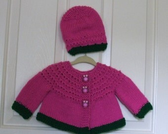 Hand Knitted - Bright Pink and Dark Green Baby Sweater with Owl Buttons