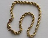 Pretty 10K Y Gold Rope Bracelet, Lobster Claw Clasp, 7 inches long, very nice vintage piece, free US first class shipping