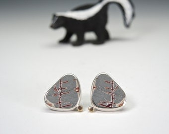 Sonoran Dendritic Post Earrings in Silver and Gold with Gold Posts, Grey, Handmade