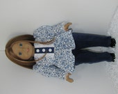 Navy Blue Corduroy Pants with Flowered Babydoll Blouse, Fits 18 Inch American Girl Dolls