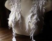 2 WHITE Lace Appliques Wisteria American made Lace for Bridal, Straps, Lace Jewelry, Costume Design IA 741w