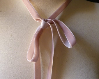 3 yds. Rose Blush Velvet Ribbon for Bridal, Jewelry or Costume Design, Millinery, Couture, Floral Supply VL 152rb