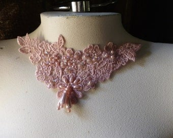 Beaded Lace Applique in Rose Pink for Lyrical Dance, Jewelry or Costume Design CA 755rp