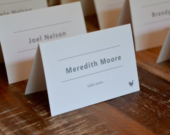 Modern Tented Place Cards for Wedding Reception Dinner with Custom Meal Icons