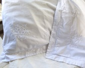 RESERVED for Lisa Cotton Euro Pillow Shams In White with Embroidery Set of Two