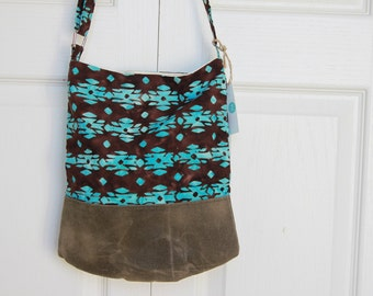 Sling Bag in Blue and Brown