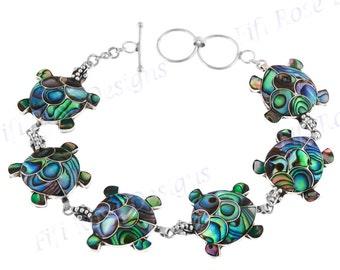 Lavish Turtle Paua Abalone Shell Sterling Silver Bracelet