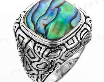 Adorable Paua Abalone Shell 925 Sterling Silver Sz 7 Ring